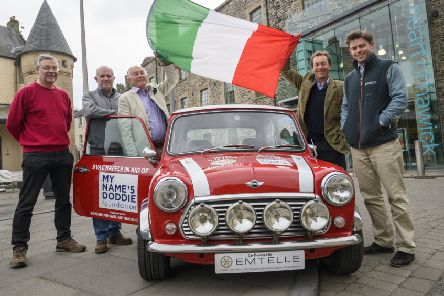 John Bathgate and Ali Gibson of Emtelle, David Pratt, chairman of the Borders Vintage Automobile Club, Edward Maitland-Carew of Thirlestane Castle and Johnny Fleming of Brewin Dolphin at a screening of The Italian Job in Hawick.