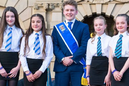 2019 Kelso Laddie Mark Henderson with colour bussers Ellie Burton, Madison Weymss, Cody Watson and Skye Narin. (Photos: Gavin Horsburgh)