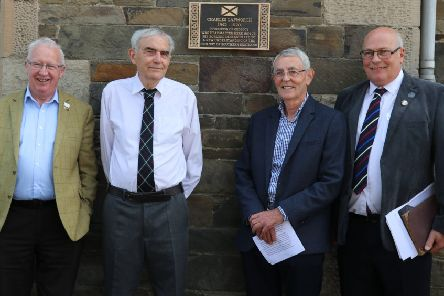 Stuart Monro of the Royal Society of Edinburgh, local historians David Adamson and Malcolm Lindsay and Murray Dickson, president of the Old Gala Club History Society, at the unveiling of the commemorative Charles Lapworth plaque in Galashiels.