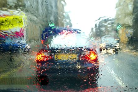 Heavy rain could make driving conditions difficult.