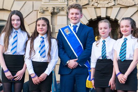2019 Kelso Laddie Mark Henderson with his colour bussers Ellie Burton, Madison Weymss, Codi Watson and Skye Nairn.