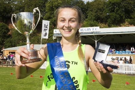 A day to treasure for Rianna Sterricks, who won the Jedburgh 110m Sprint (picture by Bill McBurnie).
