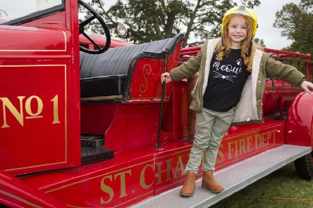 Four-year-old Ellis Lindsay from Clovenfords look to put out a fire or two.