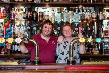 Manager Nikki Cassidy and barman Hamish Crawford at the Bridge Inn in Peebles.