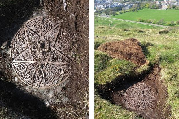 Mystery as pagan altar and symbol unearthed in Edinburgh's Holyrood Park