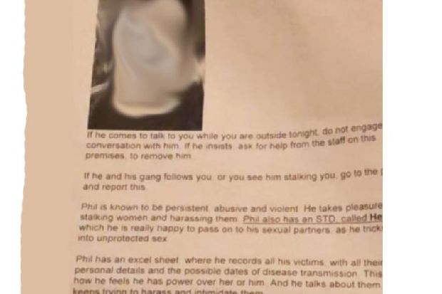 Posters warning women about a 'sex offender' appear in Edinburgh bars and clubs