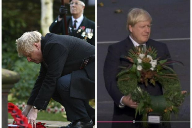 BBC apologises for showing old Remembrance Day footage of Boris Johnson laying wreath