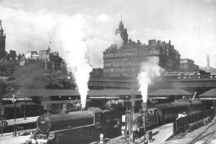 36a8f4fa48c Steam trains at Waverley Station (1949). The Edinburgh-Glasgow line was  Scotland's