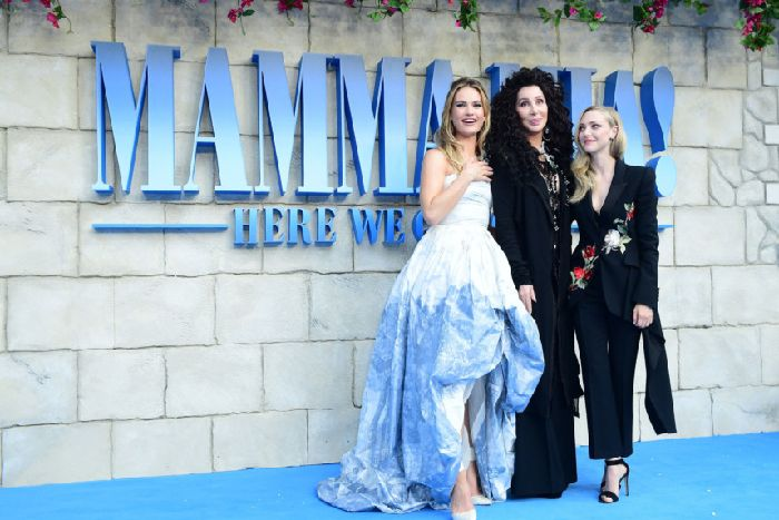97fa65fb36d62a Lily James, Cher and Amanda Seyfried attending the premiere of Mamma Mia!  Here We