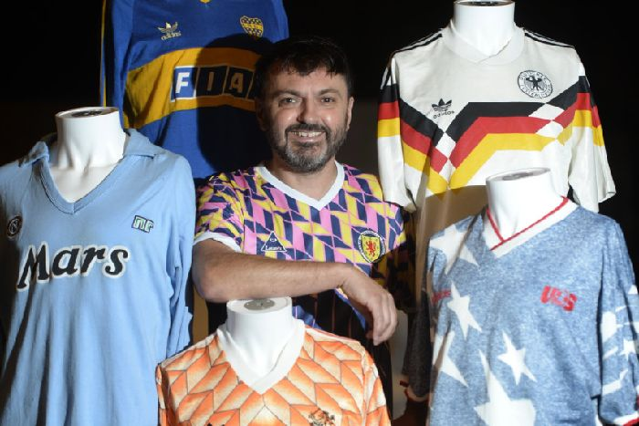3005c64d4a0 Collector and football shirt lover Neal Heard, 49, showcasing some of the  shirts in