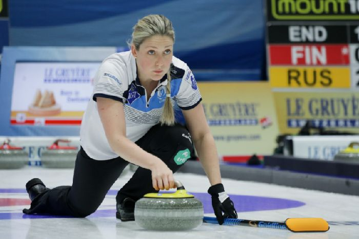 5a188c564ac Scotland's Lauren Gray in action at Le Gruy re AOP European Curling  Championshipsin Tallinn,