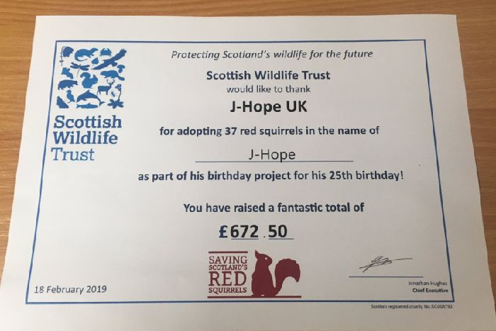 UK fans of J-Hope raised more than �600 to help save Scotland's native red squirrels