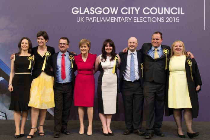 Ms McGarry, fourth from right, with her fellow SNP Glasgow MPs on election night in 2015