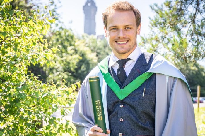 Outlander's Sam Heughan enjoys day off in Stirling sun to collect