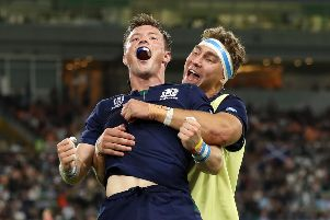 FUKUROI, JAPAN - OCTOBER 09: George Horne of Scotland celebrates scoring his team's seventh try with Jamie Ritchie of Scotland during the Rugby World Cup 2019 Group A game between Scotland and Russia at Shizuoka Stadium Ecopa on October 09, 2019 in Fukuroi, Shizuoka, Japan. (Photo by Mike Hewitt/Getty Images)