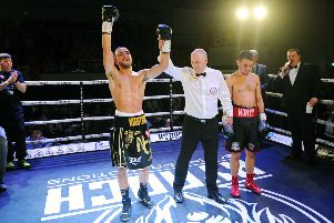 Nathaniel Collins is declared the new Celtic champion (pic: Michael Gillen)