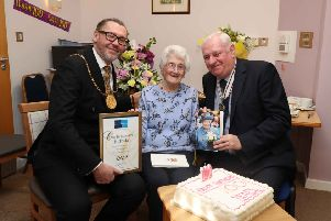 Helen Bruce is joined by South Lanarkshire provost Ian McAllan and Deputy Lieutenant of Lanarkshire Terence Currie as she celebrates her 100th birthday