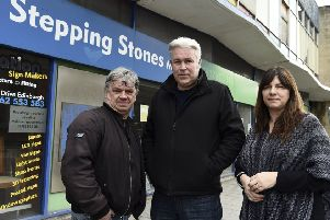 Stepping Stones volunteer Ian smith volunteer, Settlement Projects general manager Steve Robb and local councillor Janet lay-Douglas. Photo by Lisa Ferguson.