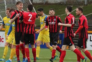 Dalbeattie Star celebrate Cowie goal against BSC Glasgow (picture: Dalbeattie Star)