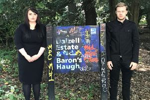 Councillors Meghan Gallacher and Nathan Wilson at Baron's Haugh and the Dalzell Estate last summer