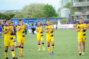 Dejected Raith players applaud the travelling fans at full-time. Pic: Fife Photo Agency