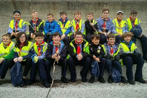 Stonehaven Scouts who took part in the litter pick at the seafront
