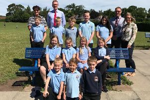 John Lamont MP with staff and pupils during his visit to the school.