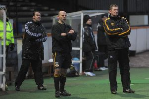 Robbie Horn (right) during Colin Cameron's first match as Berwick Rangers boss.
