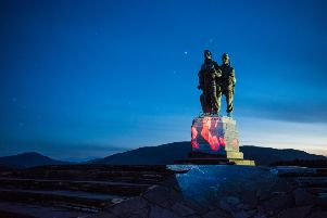 Centenary commemoration...the Commando Memorial at Spean Bridge is used to stunning effect in the video.