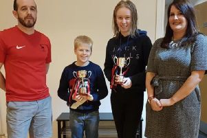 The first recipients of the award, Kirsten Bennet and Liam Warner.