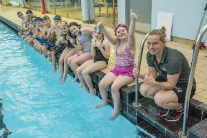 Borders youngsters welcome the new swimming initiative (picture by Phil Wilkinson)
