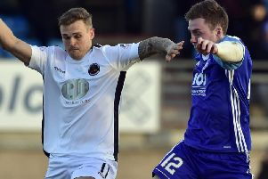 Gary Phillips in action against Peterhead (Pic: Duncan Brown)