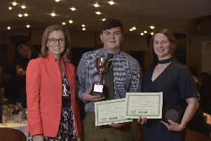 Rachael Hamilton MSP and Borders College winners Billy Ewart and Ann Letham