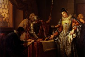 The Abdication of Mary, Queen of Scots...painting by Gavin Hamilton has resulted in a two-year research project, studying the monarch's enduring hold over the public's imagination. (Pic: University of Glasgow)