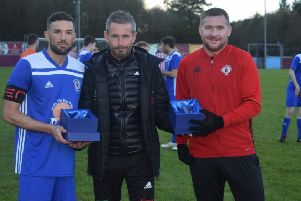 Kirkintilloch Rob Roy boss Stewart Maxwell (centre) is optimistic about the club's future prospects.