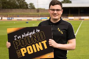 Dom Gall (23) came up with Berwick Rangers' 'Pound Per Point' scheme, which he is seen promoting here
