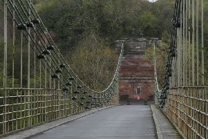 The Union Chain Suspension Bridge spanning the Tweed, and the border between England and Scotland at Horncliffe