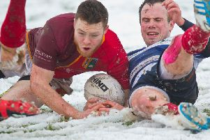 Earlston in, somewhat snowy, action against Edinburgh Uni Medics last weekend
