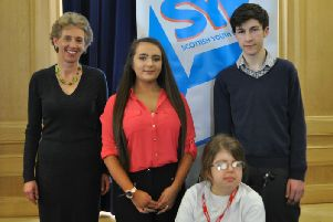 Councillor Carol Hamilton with new MSYPs Tanya Thompson, Isabel Headon and Rhys Pearce