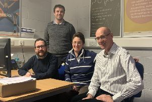 Euan Jardine (SBC executive member culture and sport), Alan Oliver (disability sports development officer), Ruth Hounham (chairperson Scottish Borders Disability Sports Group) and Graham Cook (vice chairman Scottish Borders Disability Sports Group)