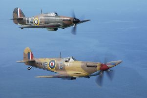 Part of a series of images captured during a two day period spent with the Royal Air Forces Battle of Britain Memorial Flight which is based at RAF Coningsby, Lincolnshire.''The Spitfire is seen here in the foreground, and the Hawker Hurricane in the background.