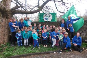 St Marys Nursery kids with their sixth eco flag