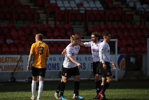 Congratulations for Barry Cuddihy after his opening goal against Berwick (pic by Craig Black Photography)