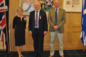 Lord Lieutenant of Berwickshire Jeanna Swan, George Prentice and Harry Frew.