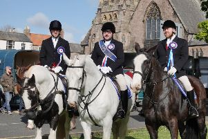 Coldstreamer Jono Wallis, Right Hand Man Chris Lyons and Left Hand Man Stefan Home at the Berwick Riding of the Bounds 2019.