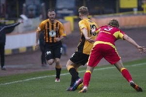 Adamson and Forbes in action against Albion Rovers.