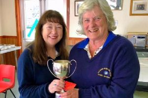 Carol Davidson & Isabel MacRae who win the Ladies Open Pairs Competition hosed by Gala BC on May 5.