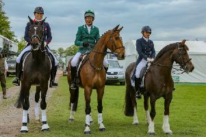 Nicky Heale, right, at Badminton Horse Trials in Gloucestershire, where she was invited by Pammy Hutton. an international dressage rider and trainer to take part in the dressage demos.