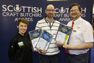 Pictured (centre) Greig Foston from Foston Fine Meats with contest sponsors (left) Erin Conroy from Verstegen and (right() Duncan McVicar from Scotweigh.