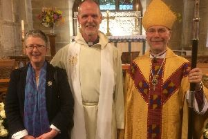 Rev Chris Jones, Priest in Charge of the Berwickshire Episcopal Churches Group, with his wife Pauline and Rt Rev Dr John Ames, Bishop of Edinburgh.